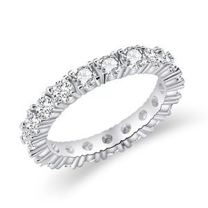 Jewelry - New White Gold Plated Bezel Set Eternity Ring
